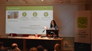 Marta Crous-Bou durant la seva presentació a la jornada de recerca de Calella