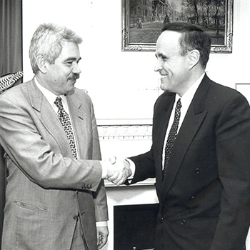 Rudolph Guiliani, Mayor of New York and Pasqual Maragall, 1996.