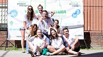 Foto finish de algunos de los participantes en la carrera del CMU Penyafort de Barcelona